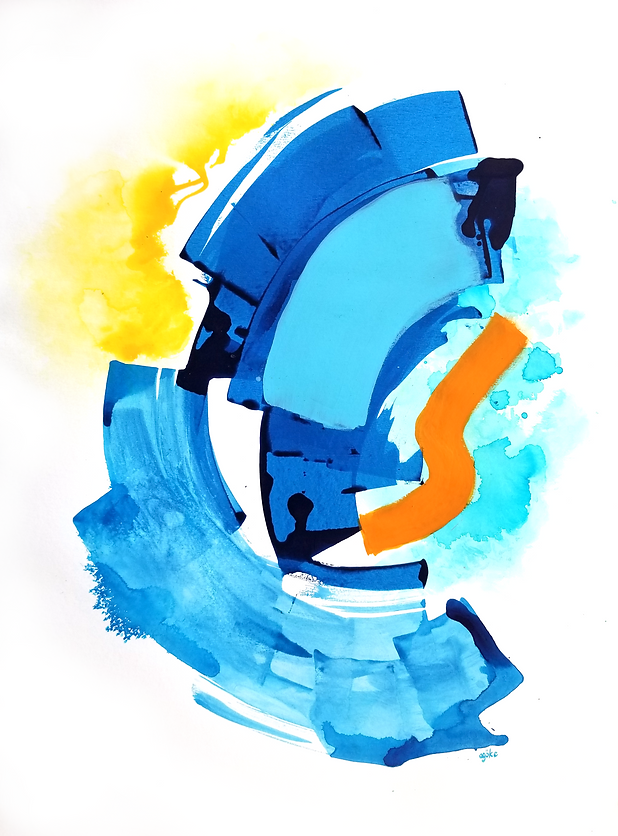 """Alon is a one-of-a-kind painting from the Summer Waves series which is a minimalist and abstract painting series inspired by the ocean and summer time. It has layers of semi-transperant phthalo blue with light opaque blue, bold orange accents, and ice blue and yellow watercolor touches.   24"""" x 18"""" Professional grade arcylic paints and watercolor on 300 gsm cold pressed watercolor paper"""