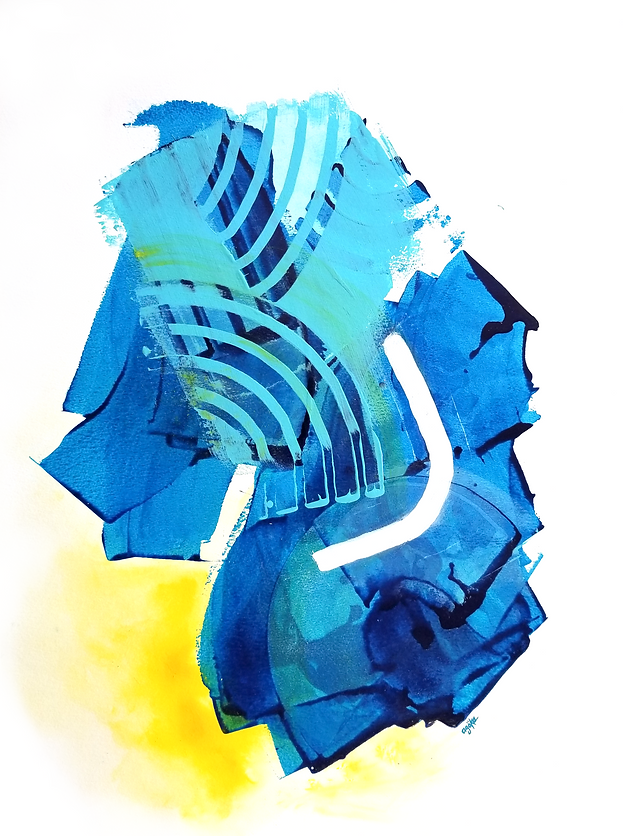 """Kailani is a one-of-a-kind painting from the Summer Waves series which is a minimalist and abstract painting series inspired by the ocean and summer time. It has many layers of semi-transperant phthalo blue and opaque light blue on top with white accents and warm yellow watercolor touches.   24"""" x 18"""" Professional grade arcylic paints and watercolor on 300 gsm cold pressed watercolor paper"""