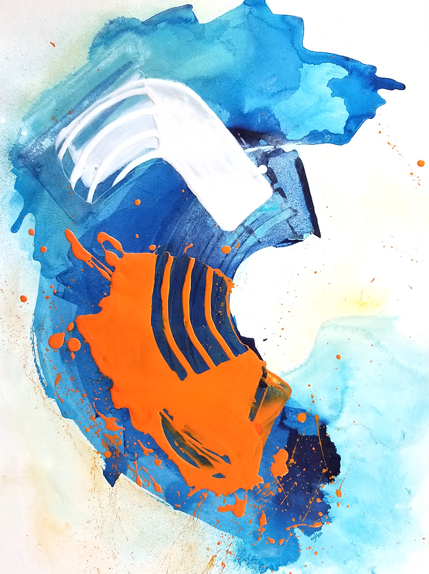 """Eldoris is a one-of-a-kind painting from the Summer Waves series which is a minimalist and abstract painting series inspired by the ocean and summer time. It has layers of blue acrylics and watercolors, bold orange and white accents that were mixed with pouring medium to create thick layers, and hint of yellow watercolor touches.  24"""" x 18"""" Professional grade arcylic paints and watercolor on 300 gsm cold pressed watercolor paper"""