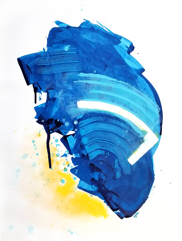 """Zale is a one-of-a-kind painting from the Summer Waves series which is a minimalist and abstract painting series inspired by the ocean and summer time. It has many layers of semi-transperant phthalo blue and opaque light blue on top with white accents and warm yellow touches of water soluble pastel.  24"""" x 18"""" Professional grade arcylic paints and watercolor on 300 gsm cold pressed watercolor paper"""