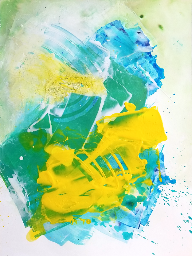 """Varuna is a one-of-a-kind painting from the Summer Waves series which is a minimalist and abstract painting series inspired by the ocean and summer time. It has layers of blue and green acrylics and watercolors, white and bold yellow accents that were mixed with pouring medium or fiber paste to create a unique texture.  24"""" x 18"""" Professional grade arcylic paints and watercolor and fiber paste on 300 gsm cold pressed watercolor paper"""