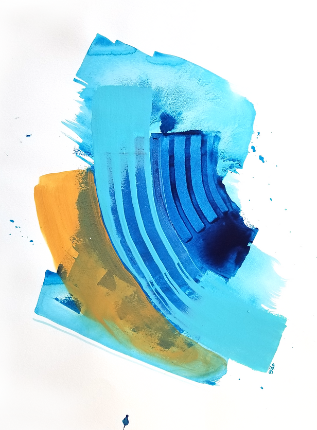 """Talulah is a one-of-a-kind painting from the Summer Waves series which is a minimalist and abstract painting series inspired by the ocean and summer time. It has layers of semi-transperant phthalo blue with light opaque blue and yellow ochre accents. 24"""" x 18"""" Professional grade water color and arcylic paints on 300 gsm cold pressed watercolor paper"""