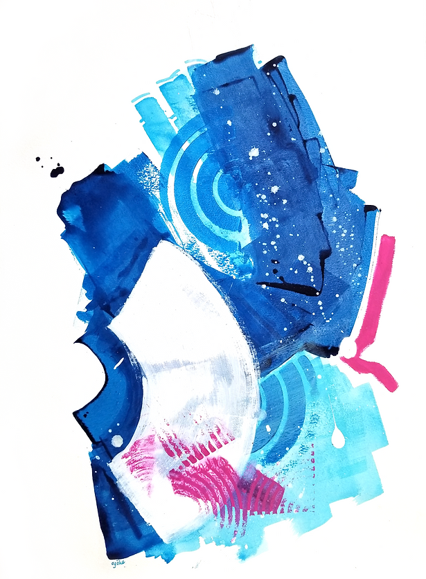 """Dana is a one-of-a-kind painting from the Summer Waves series which is a minimalist and abstract painting series inspired by the ocean and summer time. It consists of layers of phthalo blue and transparent light blue with white accents and vibrant pink touches.   24"""" x 18"""" Professional grade arcylic paints and watercolor on 300 gsm cold pressed watercolor paper"""