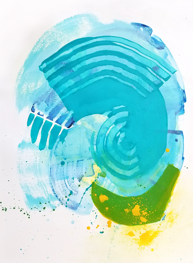 """Coral is a one-of-a-kind painting from the Summer Waves series which is a minimalist and abstract painting series inspired by the ocean and summer time. It has layers of blue, teal and green acrylics with bold yellow accents.  24"""" x 18"""" Professional grade arcylic paints on 300 gsm cold pressed watercolor paper"""