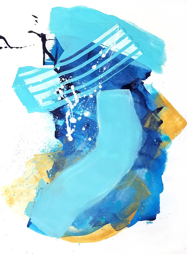 """Summer Night is a one-of-a-kind painting from the Summer Waves series which is a minimalist and abstract painting series inspired by the ocean and summer time. It has layers of blue acrylics with white and yellow ochre accents taking us to a warm and starry summer night.   24"""" x 18"""" Professional grade arcylic paints on 300 gsm cold pressed watercolor paper"""