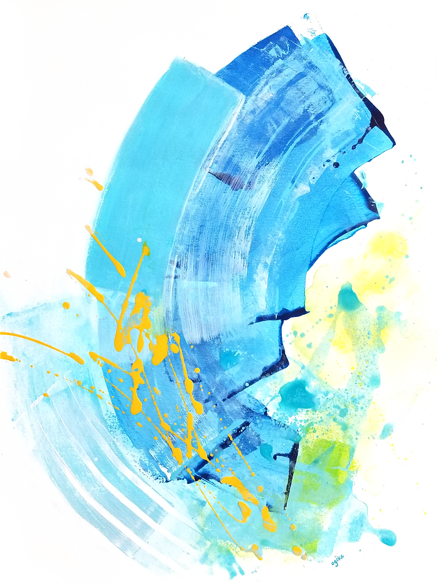 """NIxie is a one-of-a-kind painting from the Summer Waves series which is a minimalist and abstract painting series inspired by the ocean and summer time. It has layers of blue acrylics and watercolors, white and yellow accents that were mixed with pouring medium to create texture, and hint of green touch.  24"""" x 18"""" Professional grade arcylic paints and watercolor on 300 gsm cold pressed watercolor pape"""
