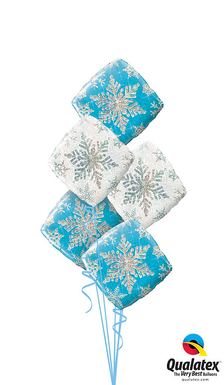Blue and Silver Snow Flakes