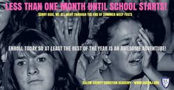 less than a month till school starts