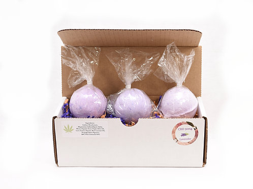Box Set of 3 - 30mg CBD Bath Bomb in Lavender, Lemon Cake, or Eucalyptus