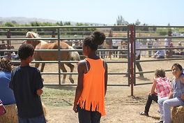 Children watch as Lesley Neuman gentles a wild horse