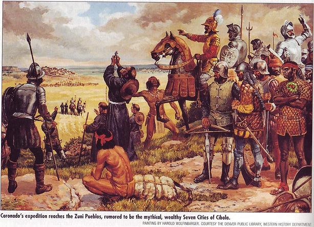Coronado expedition arriving at the Zuni Pueblo