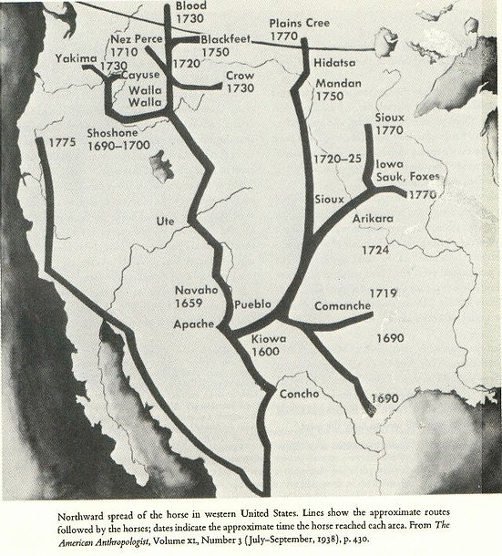 Map Showing Spread of the Spanish horse (Mexican-bred and born) in North America