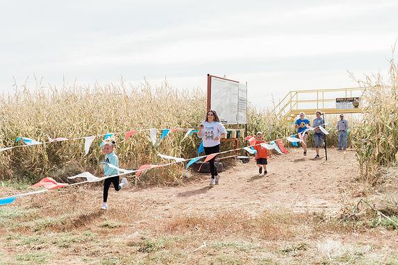 Corn maze race finish line