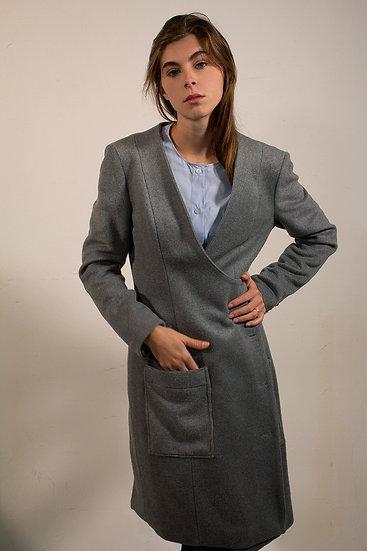 Manteau long en laine à col rond