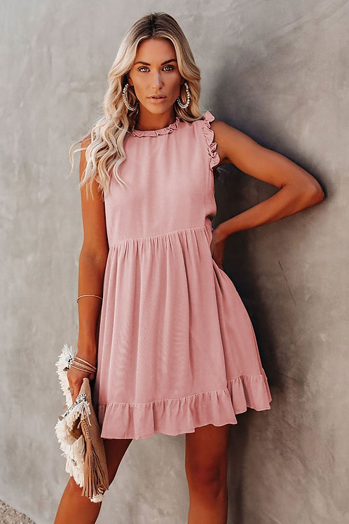 Pocketed Ruffle Babydoll Dress