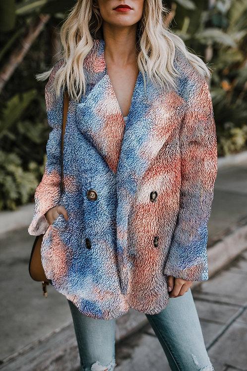 Tie Dye Faux Fur Coat
