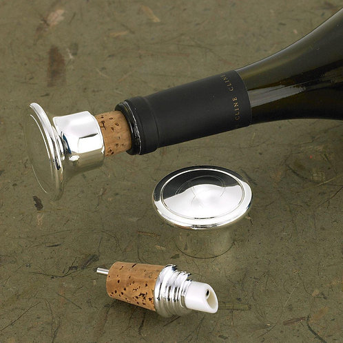 Wine Bottle Stopper & Wine Pourer - Personalized - Silver Plated