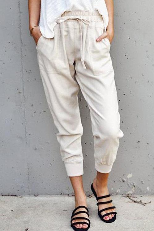 Apricot Casual Pockets Pants