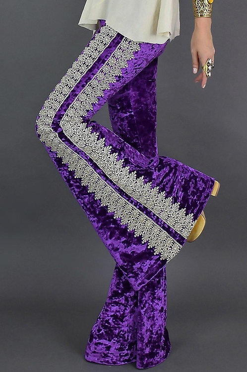 Purple Crochet Lace Velvet Flare Pant