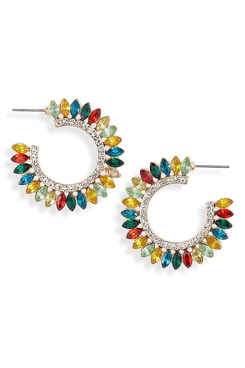 Crystal Fan Statement Hoops