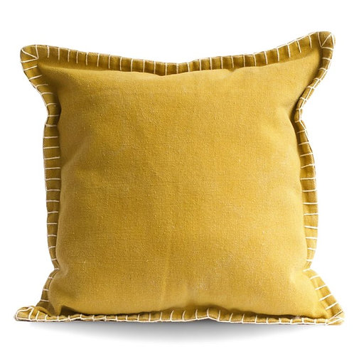 Stone Washed Yellow Cotton Pillow Cover Only No Insert
