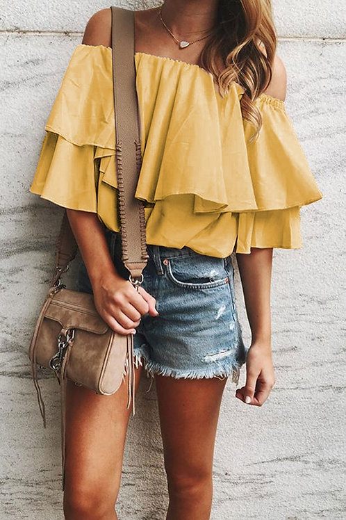 Yellow Soft Frilling Off-Shoulder Top