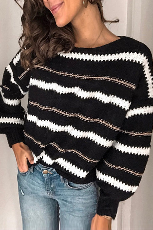 Loose Fit Pullover Sweater - Black Striped
