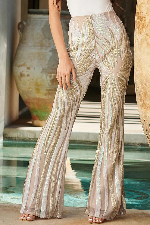 Chic Sequin Kick Flare Trousers