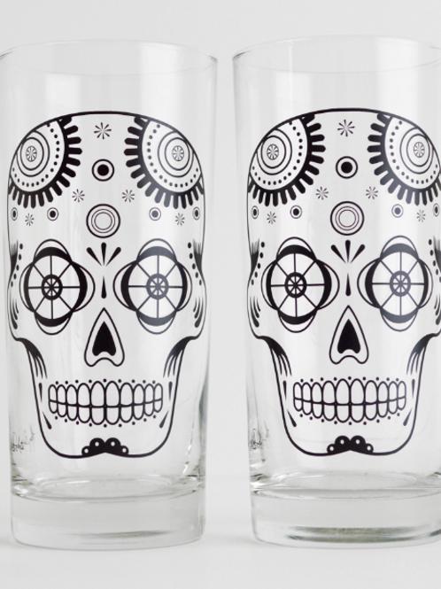 Sugar Skull Glassware - Set of 2 Halloween Glasses