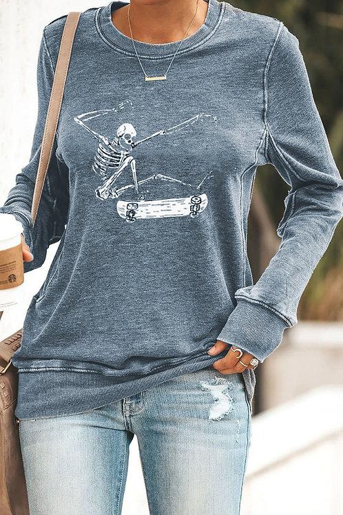 Skeleton and Skateboard Sweatshirt