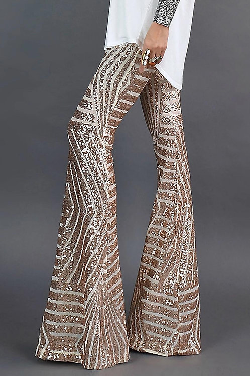 Apricot Sequin Flare Pant