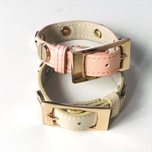 Button Leather Bracelet