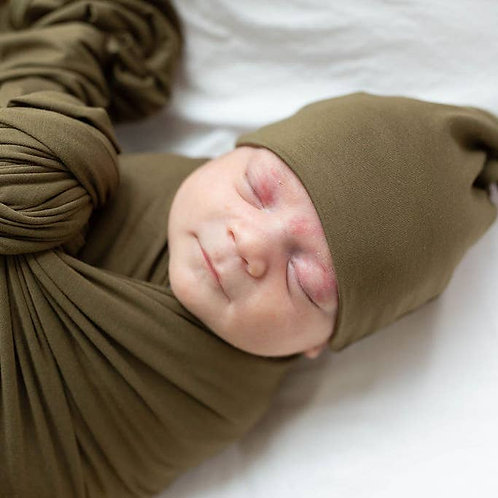 Swaddle Blanket & Baby Hat (Newborn - 3 mo.) - Army Green