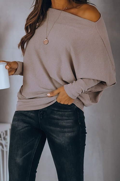 Beige Off Shoulder Raglan Long Sleeve Top