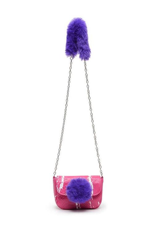Fur Ball Mini Crossbody-Pink