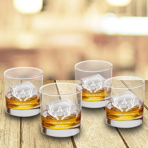 Lowball Whiskey Glasses - Set of 4 - Old Fashioned Glass Set Personalized
