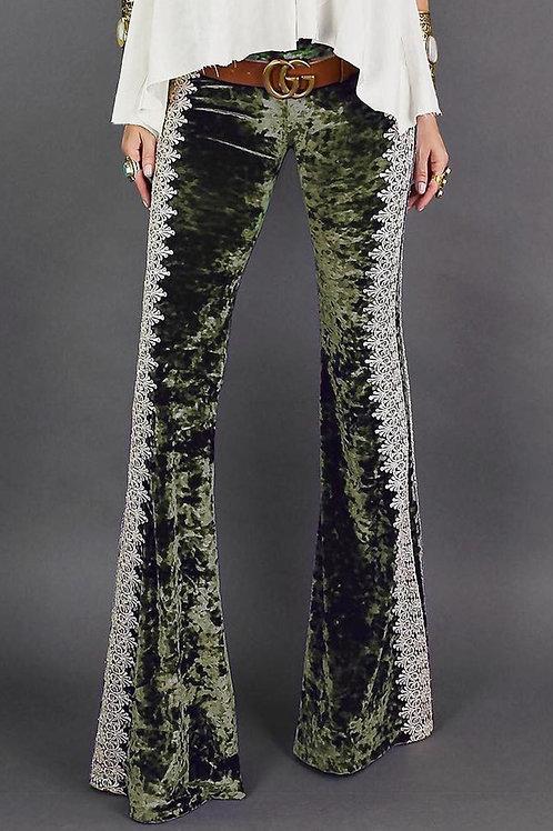 Green Crochet Lace Velvet Flare Pant