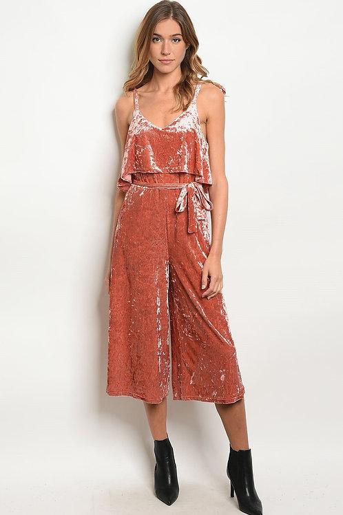 Womens Rust Velvet Jumpsuit