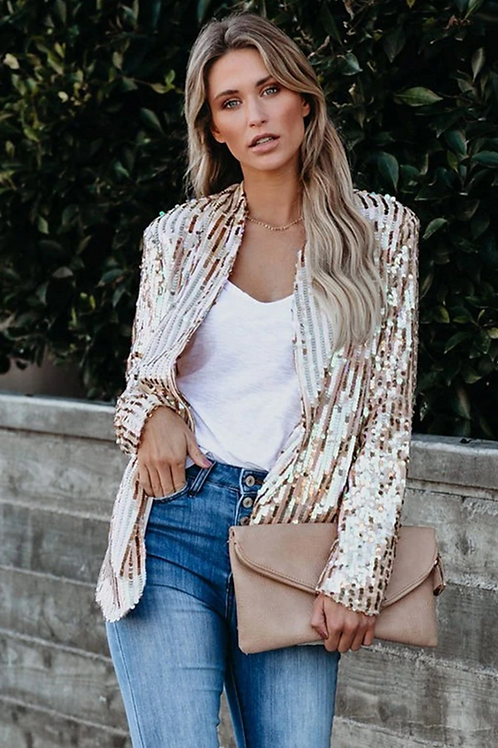 Gold Bling Sequin Party Blazer