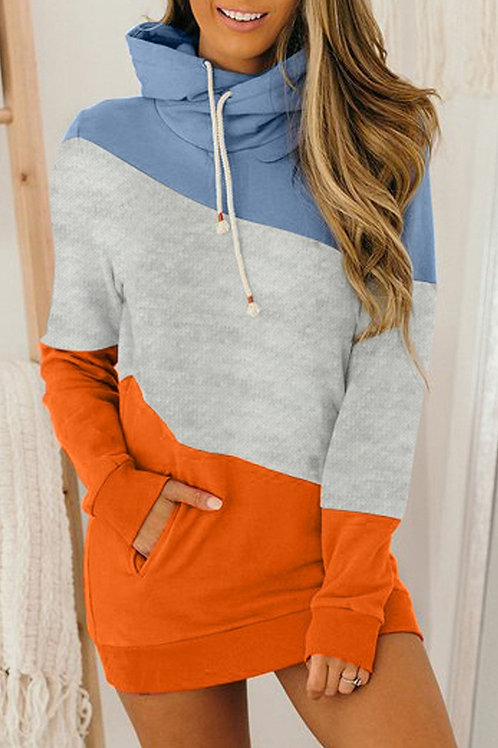 Cowl Neck Block Color Pocketed Hoodie