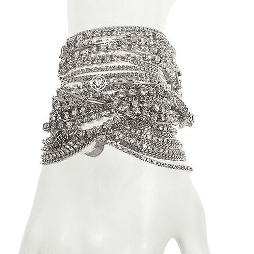 Silver Swarovski Crystals Statement Bracelet