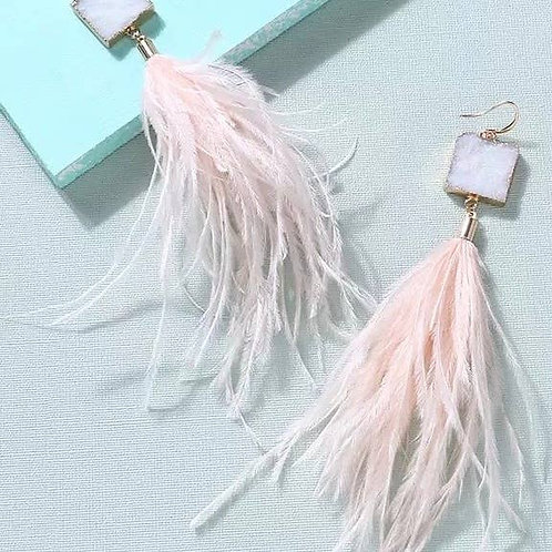 Danica Ostrich Feather and Druzy Earrings - Peach