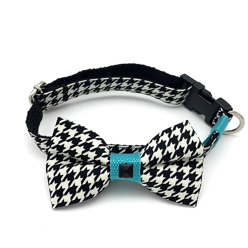 Turquoise Houndstooth Collar & Bow Tie Set