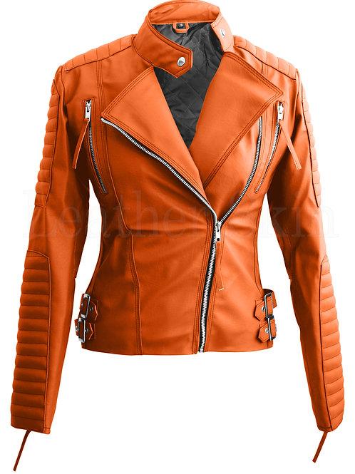 Orange Brando Women Faux Leather Jacket