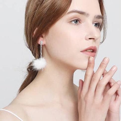 Valentina Earrings - Genuine Mink - White