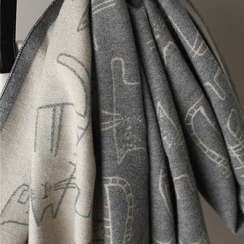 Laine Wrap - Cat Print - Silver and Charcoal