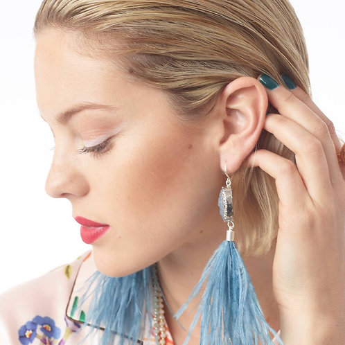 Danica Ostrich Feather and Druzy Earrings - Lake Blue
