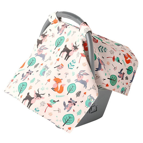 Canopy Car Seat Cover Minky Warm Baby Cover Woodland Animals