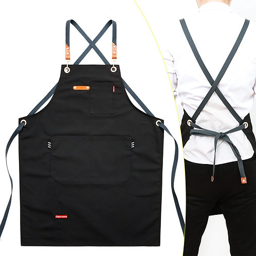 Unisex Work Apron Canvas Black - Adjustable