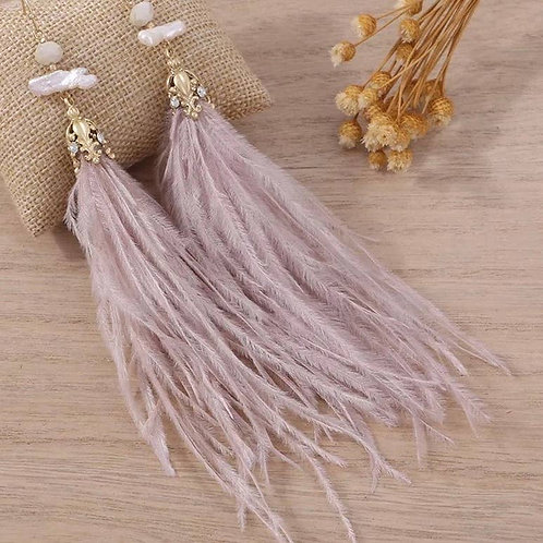 Erica Earring - Ostrich Feather - Taupe